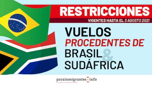 Restricciones en los vuelos procedentes de Brasil y Sudáfrica