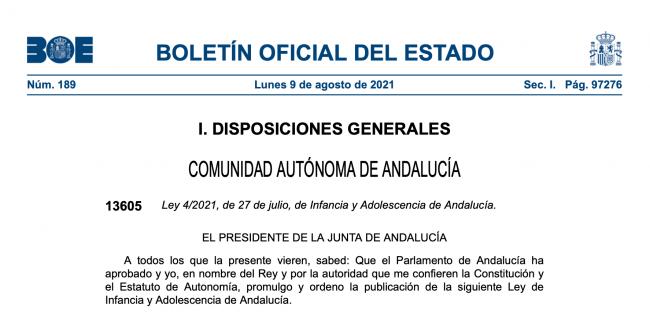 Ley de Infancia y Adolescencia en Andalucía sobre nacionalidad de menores
