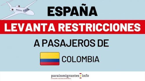 España levanta restricciones a Colombia