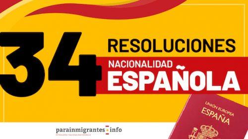 Resoluciones de Concesión de Nacionalidad Española – 22 de Octubre de 2021